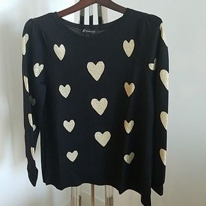 INC black sweater with gold hearts